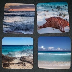 Set of 4 one of a kind ocean coasters